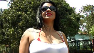Swingeing darling Cristine Castellari with huge tits gets smashed hard and fast on sofa