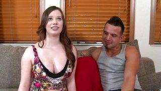 Male fucked hard a fascinating brunette Natalie Moore with impressive tits from behind because she asked for it