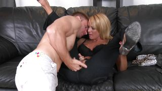 Voluptous maiden Whitney with impressive tits is sucking lad's phallus and getting fucked