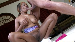Wicked ebony maid Honey Droppz with curvy tits and she is ready for some action