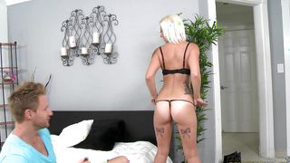 Busty blonde Peyton Rae lets her foxy male strip her naked without hesitation