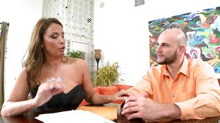 Seductive Stacie Starr with large tits is kneeling on the floor and sucking stranger's shlong