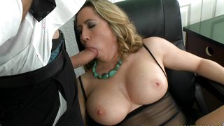 Passionate gal Kat Krown with curvy tits is fucking new pussy tester