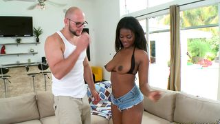 Sensual ebony floosy Leila with round tits sitting on a lever and riding