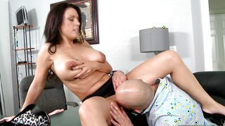 Inviting J Love with curvy tits is horny and she reaches a massive orgasm