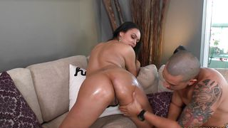 Sweet ebony woman Bethany Benz with firm tits takes a rough doggy style pounding