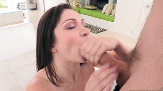 Engaging hottie Lea Lexis with firm tits hastily takes buddy's big pole out