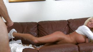 Stupefying busty blonde Nikita Von James gets slammed hard