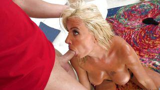 A enchanting busty blonde bimbo Olga Polansky is getting fucked like a pro and enjoying it