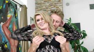 Cheerful blonde Daisy Haze with large tits is fucking guy while no one is watching them