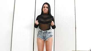 Charming busty latin sweetie Ada Sanchez took off her shirt and got down and dirty with bf
