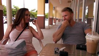 Savory brunette girl Jessica Rayne with large tits is quick to strip for the fucking she anticipates
