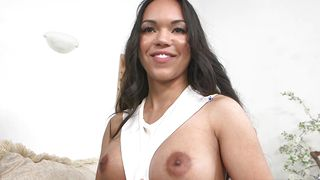 Mischievous latin diva Emily Mena with big tits eagerly sucks on her pal's fat cockhead