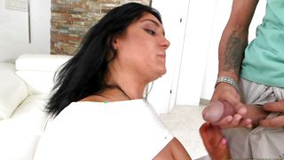 Sensual busty Lisa Lexington gobbles up giant rock solid pole with passion