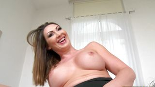 Alluring busty brunette maid Yasmin Scott is often sucking stud's lovestick while he is making a video of her
