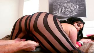 Dishy latin Destiny with great tits is loving this mate's boner and cumming