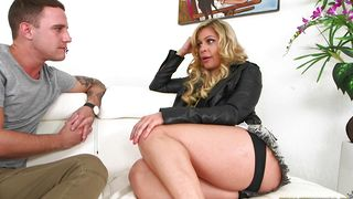 Wonderful bimbo Nikki Capone with huge tits impales her curvy body on a throbbing wang
