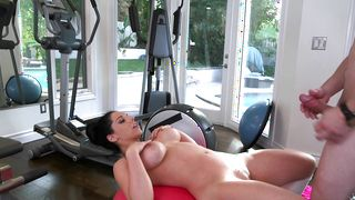 Latin gal Bella Reese with huge tits gives voluptous blowjob and rides her buddy