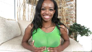Ambitious ebony sweetheart Sierra Simmons with curvy tits wants stud to mouth fuck her hard