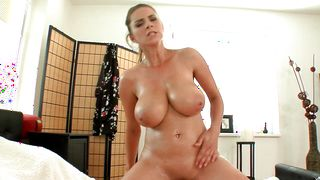 Alluring Katerina with huge tits rides a stiff dinky after being face fucked