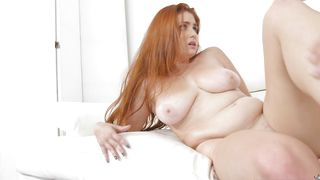 Lewd busty Lennox Luxe shows her amazing dong sucking skills