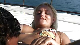 Captivating busty blonde Cinthia Santos gets her booty wet before riding a boner