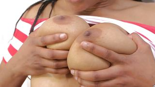 Magnificent ebony gf Alison Sault with round tits rides fuckmate