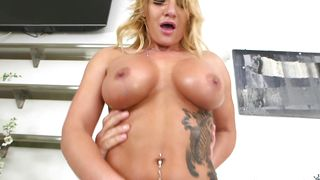 Appetizing blonde woman Cali Carter with massive tits gets inspected by the stranger's pulsating love rocket