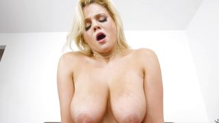 Nude captivating blonde babe Katy Jayne with big tits is getting her daily dose of a huge dink on the couch
