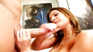 Sugary brunette darling Austin Kincaid with impressive tits rubs her vagina while giving a blowjob