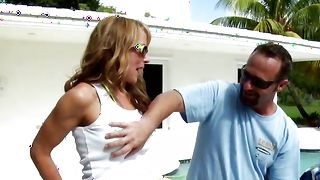 Cunning blonde lady Shayla with firm tits rides a stiff prick after being face fucked