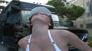Slender busty floosy Kitty Bella sucking his pecker with her sexy mouth