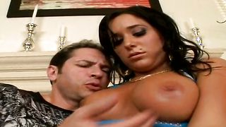 Glorious busty chick Cameron Carter is riding mate's sausage like a pro slut and enjoying it