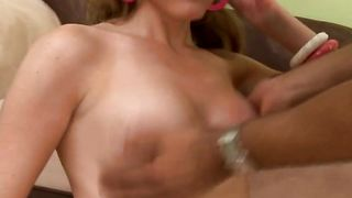 Marvelous busty Audrey laughs before being impaled by a hard big hard shaft