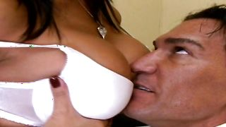 Angelic gf Gianna Lynn with round tits takes pleasure stroking hard shlong