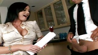 Fucker stimulates clitoris of wanton Melissa Lauren with massive tits pushing fat shaft in her sissy