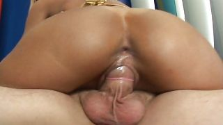 Classy busty blonde sweetheart Roxi sits on a stick that's her pleasure throne now