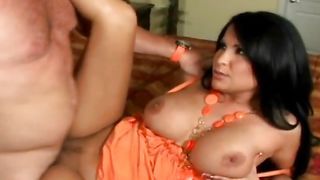 Babe Sophia Lomeli with great tits gets down on knees and gives stupendous blowjob