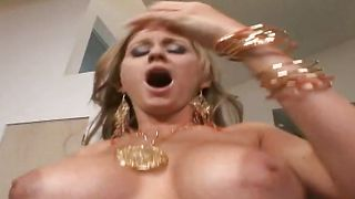 Stupefying busty babe Abby Rode and playmate are having a good fuck in the living room
