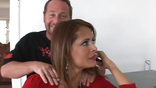 Meat loving classy Monique Fuentes with curvy tits is sucking a boner while getting fucked from the back
