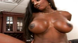 Tasty gf Diamond Jackson with round tits shows her perfect tits before sucking thick shaft