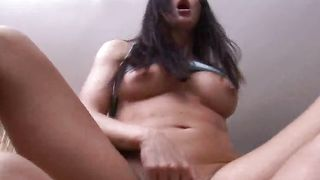 Slutty chick Kimberly with great tits is kneeling on the floor and sucking pipe
