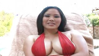 Slim jim loving lovable busty brunette babe Jessica Bangkok is sucking like a pro only if she likes a male a lot