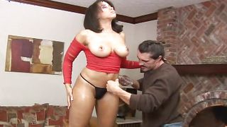 Tempting ebony Nikara with huge tits is eager to ride her male