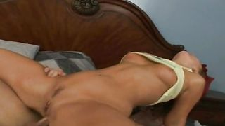 Captivating blonde Flower Tucci with great tits wastes no time and strips while sucking hard rod