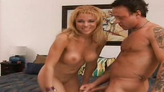 Sensual latin blonde floozy Geena with huge tits gets intensely slammed in doggy style