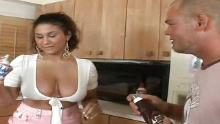 Hot busty latin brunette maid Teah enjoys riding a big and pulsating lever