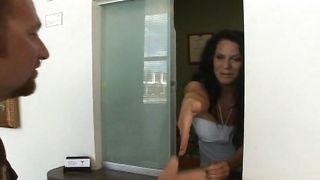 Succulent busty latin brunette Elle Cee goes down to suck a stiff boner