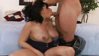 Appealing Vanessa James with big tits gets nailed by juicy big hard pecker