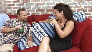 Curvaceous busty latin Natalia receives a shlong in her tight cherry